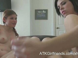 Britt Shields and Lara Brookes make you cum on their feet
