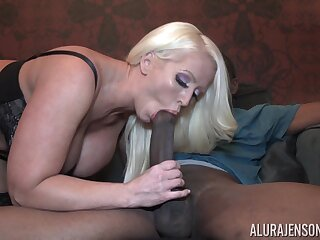 Nice-looking good looking giant breasted blonde MILF Alura Jenson jumps exposed to cock