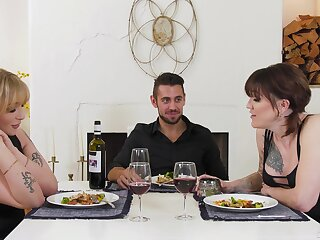 Idealizer dinner with two mistresses lead to some hot threesome