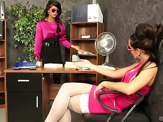 Sexy babes are intimate to hand the office during a pretty spicy tryout