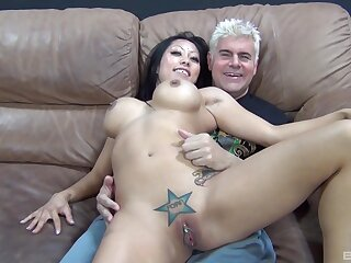 Elder man roughly fucks Asian with huge tits in dirty cam play
