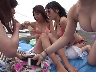 Unwitting amateur gets his dick pleasured at the end of one's tether four kinky Japanese babes