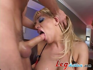 Double penetration MMF threesome with facial ending for Tatiana Stone