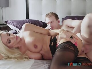 Piping hot blnde COUGAR is wearing softcore, dark-hued stocking while having fuck-a-thon with her spouse's mate