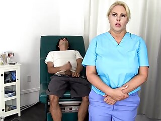 Sensuous, blondie nurse is using every chance upon win screwed, even if she is at work