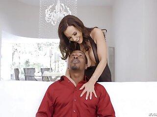Black man fucks super hot white cougar Lisa Ann in anus and mouth